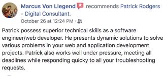 Marcus Von Llegend's testimonial of rodgersengineering.com